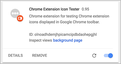 Google Chrome extension for testing Chrome Extension Icons